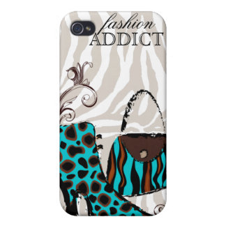 Purse and boots fashion Zebra iPhone 4 Cover blue