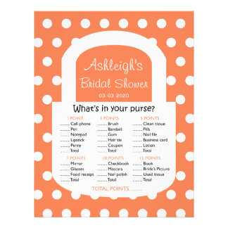 Purse Bridal Shower Game - Coral Flyer