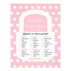 Purse Bridal Shower Game - Pink Flyer at Zazzle