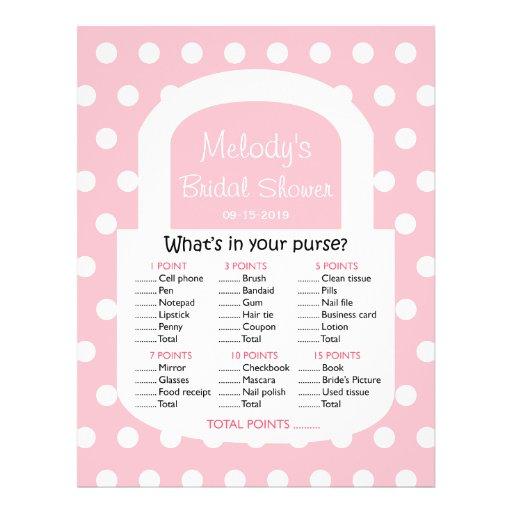 Purse Bridal Shower Game - Pink Flyers | Zazzle