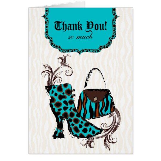 Purse n Boot Sexy Zebra Tiger Leopard Blue Card