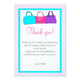 Purse Thank You Card Purple Turquoise