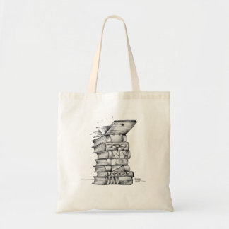 purse with book illustration tote bag