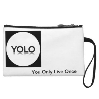 Purse with phrase YOLO YOU ONLY LIVE ELEVEN Wristlet Purse