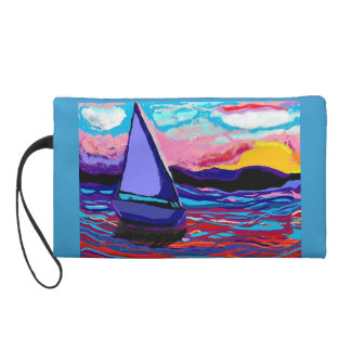 """""""Purse"""" """"wristlet with hand painted ocean sailboat"""