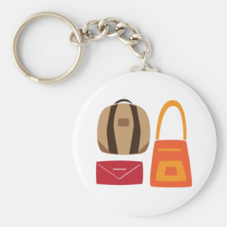 Purses Basic Round Button Keychain