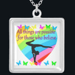 """PURSING MY GYMNASTICS GOALS AND DREAMS SILVER PLATED NECKLACE<br><div class=""""desc"""">All things are possible for that Gymnast who believes she is going to achieve her Gymnastics goals and dreams. This outstanding Gymnast will treasure this exceptional rainbow heart and butterfly inspirational women&#39;s Gymnastics design on Tees, jewelry, home decor, wall art and Gifts. This extraordinary Gymnast is pursuing her goals and...</div>"""