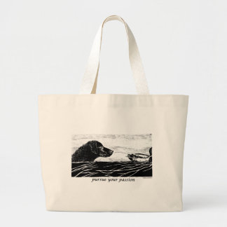 Pursue Your Passion Curly Coated Retriever Large Tote Bag