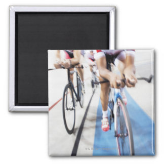 Pursuit cycling team in action 2 inch square magnet