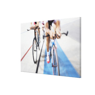Pursuit cycling team in action canvas print