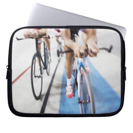 Pursuit cycling team in action laptop sleeves