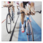 Pursuit cycling team in action large square tile
