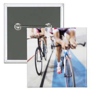 Pursuit cycling team in action pinback button