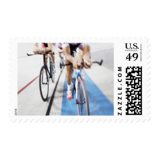Pursuit cycling team in action postage