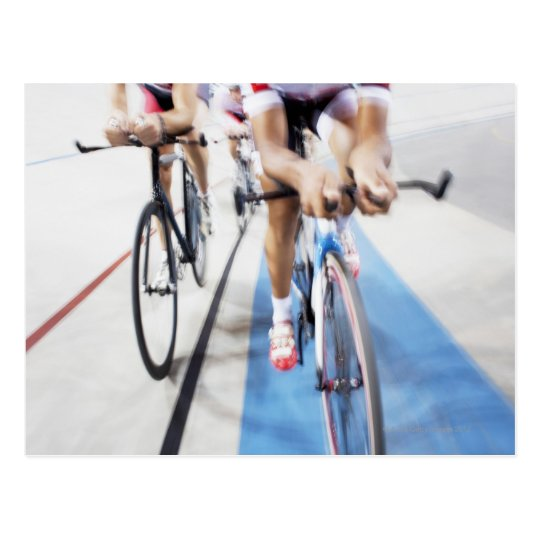 Pursuit cycling team in action postcard