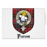 Purves Clan Crest Badge Tartan Greeting Card