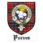 Purves Clan Crest Badge Tartan Postcard