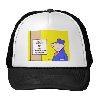 push button for government handout trucker hat