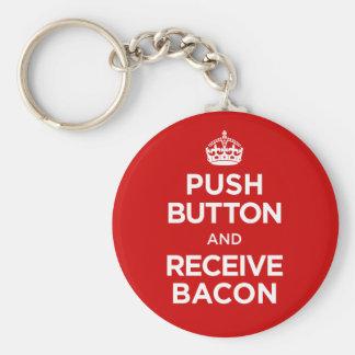 Push Button Receive Bacon - Keep Calm Parody Keychain
