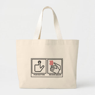 push button receive bacon large tote bag