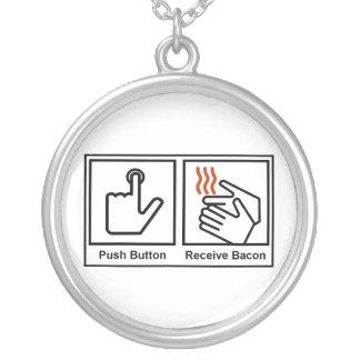 Push Button, Receive Bacon Round Pendant Necklace