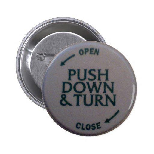 Push Down & Turn novelty Pins