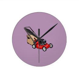 Push Lawn Mower Red Round Clock