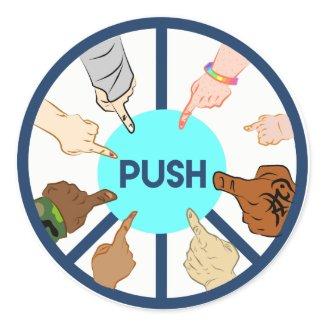 PUSH   Round Sticker