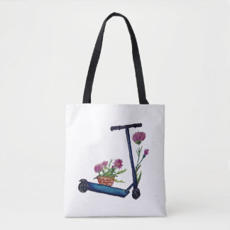 Push Scooter & Flowers Watercolor Art Tote
