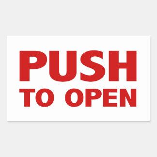 Push to Open Door Sign Rectangular Sticker