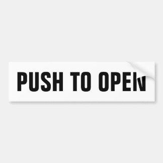 Push to open door window sign on vinyl sticker