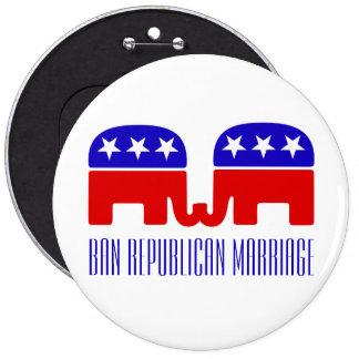 """Pushback gay divertido 6"""" de la boda republicana pin redondo de 6 pulgadas"""
