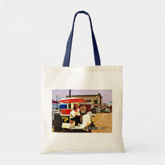 Pushcart on the boardwalk tote bag