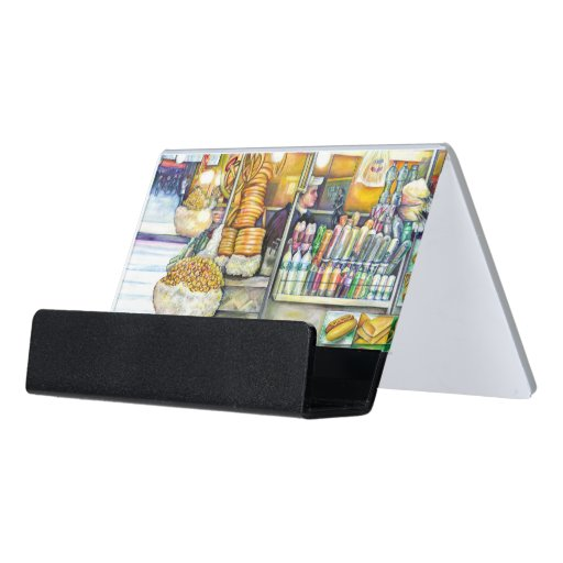 Pushcart Paradise Desk Business Card Holder