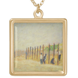 Pushing in the Poles, c.1882 (oil on canvas) Gold Plated Necklace