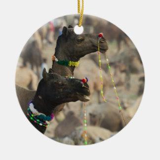 Pushkar Camel Fair, Pushkar, Rajasthan, India Double-Sided Ceramic Round Christmas Ornament