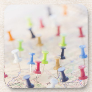 Pushpins in a map 2 beverage coaster
