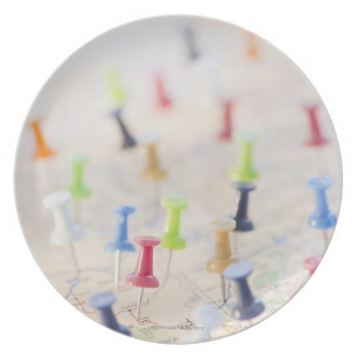 Pushpins in a map 2 dinner plate
