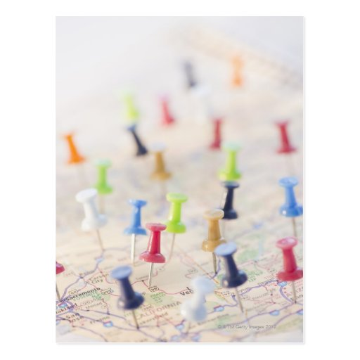 Pushpins in a map 2 post card