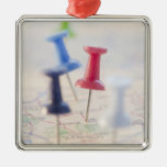 Pushpins in a map christmas tree ornament