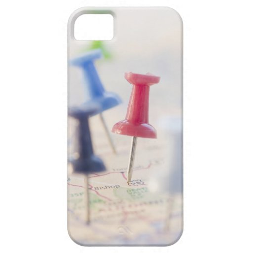 Pushpins in a map iPhone 5 covers