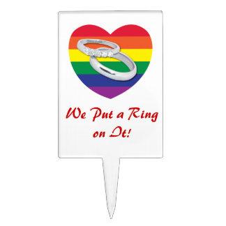 Pusimos un anillo en él boda gay decoración para tarta
