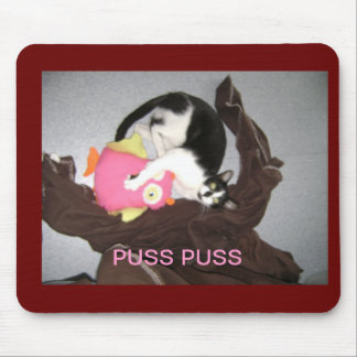 puss and owl, PUSS PUSS Mouse Pad