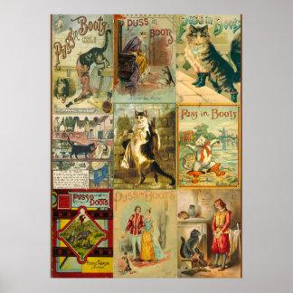 Puss del vintage en montaje del navidad de las bot posters