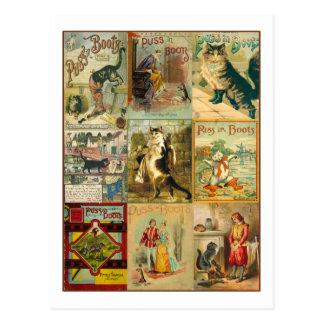 Puss del vintage en montaje del navidad de las bot postales
