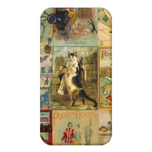 Puss del vintage en montaje del navidad de las iPhone 4/4S funda