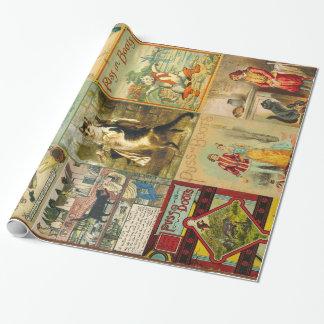 Puss del vintage en montaje del navidad de las papel de regalo