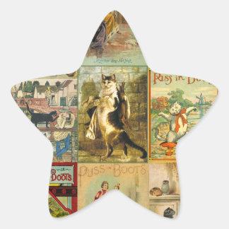 Puss del vintage en montaje del navidad de las pegatina forma de estrella
