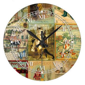 Puss del vintage en montaje del navidad de las reloj