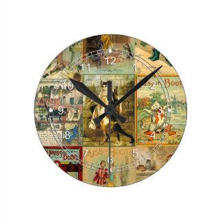 Puss del vintage en montaje del navidad de las reloj de pared